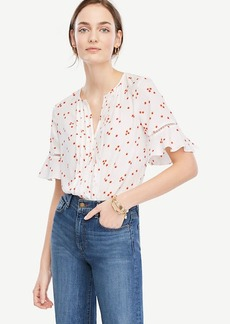 Floral Pintucked Flutter Sleeve Top