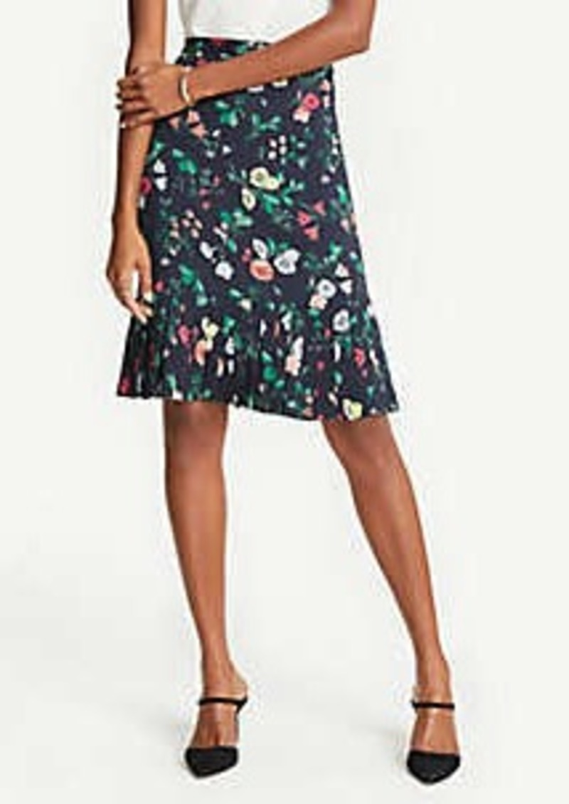 Ann Taylor Floral Pleat Hem Skirt