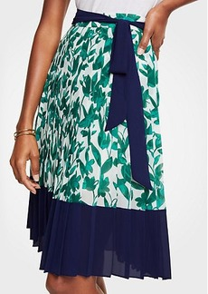 Ann Taylor Floral Pleated Chiffon Skirt