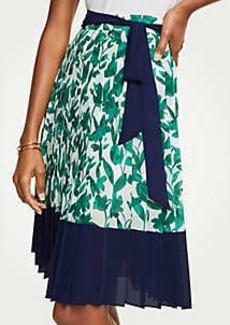 Ann Taylor Floral Pleated Chiffon Skirt