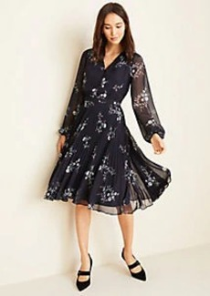Ann Taylor Floral Pleated Flare Dress