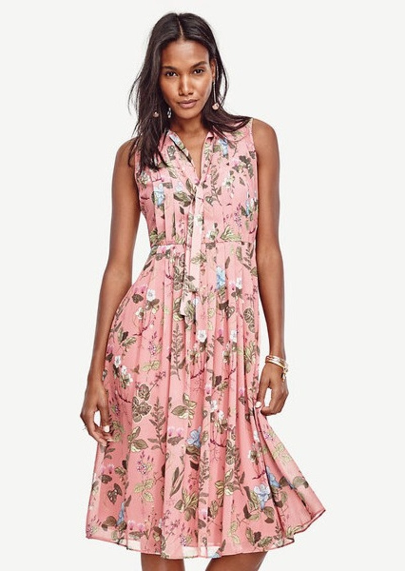 Ann Taylor Floral Pleated Midi Dress Dresses