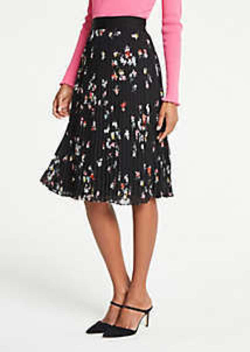 Ann Taylor Floral Pleated Skirt