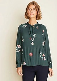 Ann Taylor Floral Pleated Tie Neck Blouse