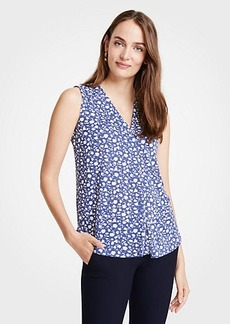 Ann Taylor Floral Pleated V-Neck Shell