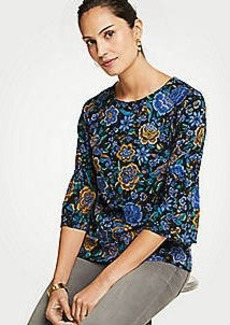 Ann Taylor Floral Ponte Gathered Sleeve Top