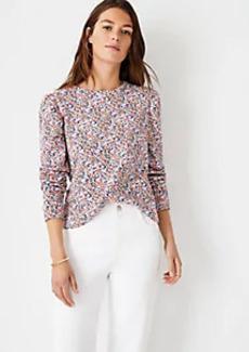 Ann Taylor Floral Puff Sleeve Sweatshirt