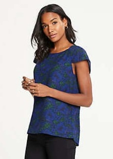 Ann Taylor Floral Ruched Sleeve Top