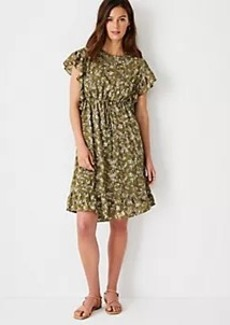 Ann Taylor Floral Ruffle Tie Waist Shift Dress