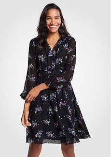 Floral Scallop Trim Flare Dress