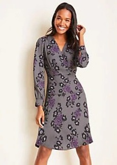 Ann Taylor Floral Seamed Wrap Dress