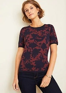 Ann Taylor Floral Seasonless Yarn Sweater Tee