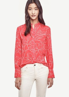 Ann Taylor Floral Shirred Blouse