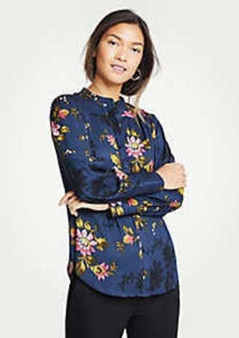 Ann Taylor Floral Shirred Button Down Blouse