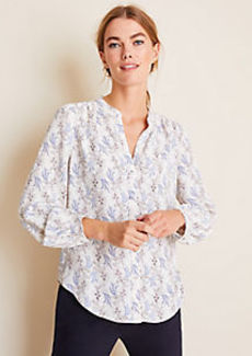 Ann Taylor Floral Shirred V-Neck Blouse