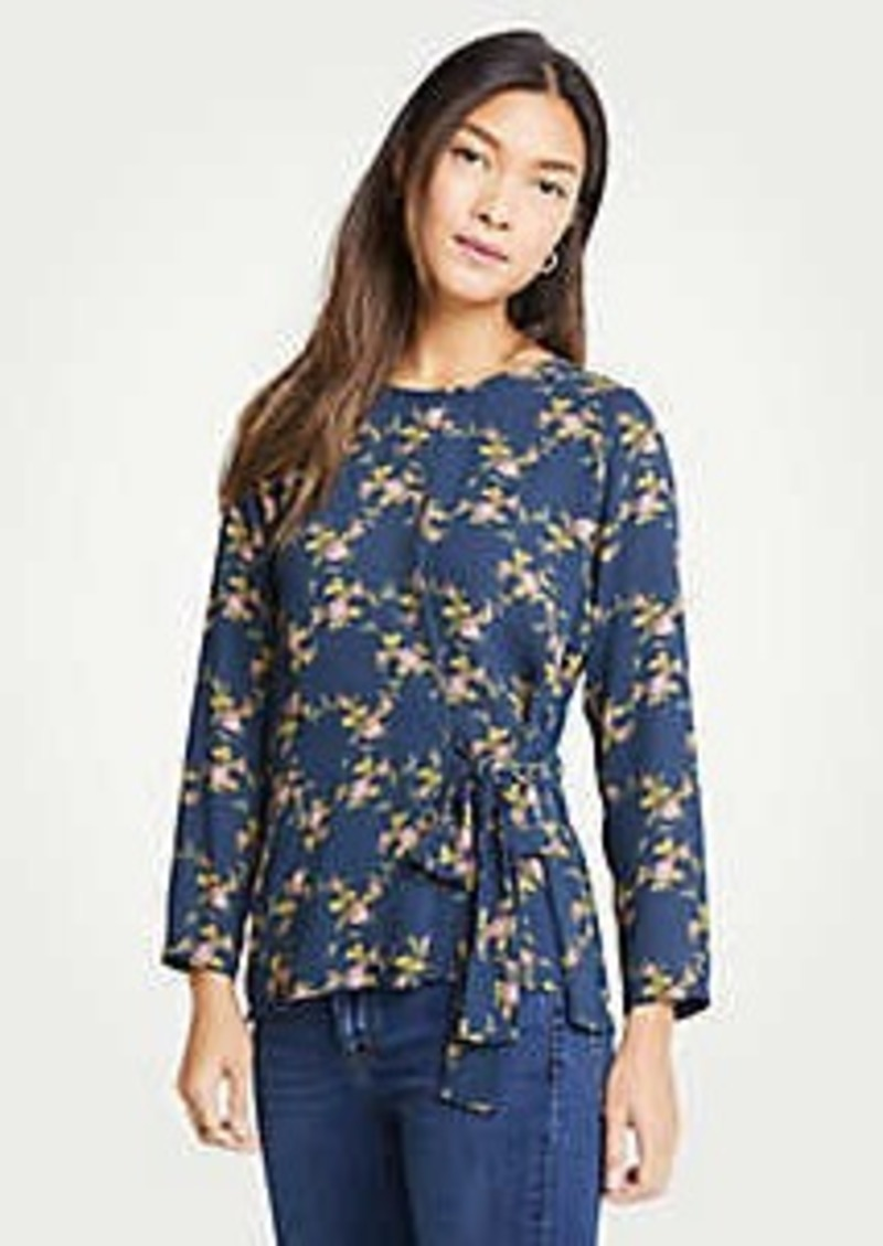 Ann Taylor Floral Side Tie Mixed Media Top