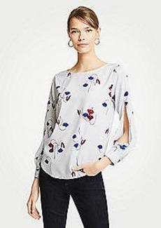 Ann Taylor Floral Slit Sleeve Blouse