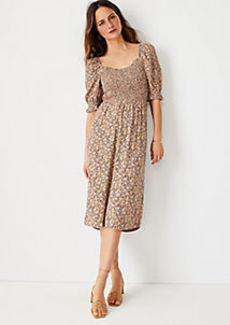 Ann Taylor Floral Smocked Bodice Flare Dress