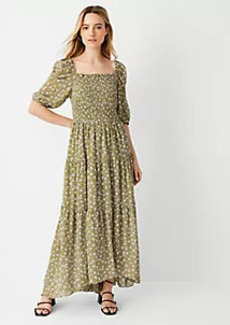 Ann Taylor Floral Smocked Bodice Maxi Dress