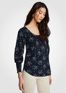 Ann Taylor Floral Smocked Cuff Top