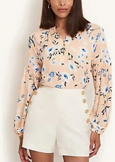 Ann Taylor Floral Smocked Sleeve Top