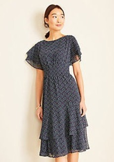 Ann Taylor Floral Smocked Waist Flare Dress