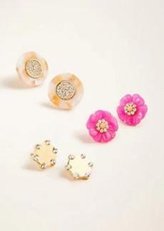 Ann Taylor Floral Sparkle Stud Earring Set