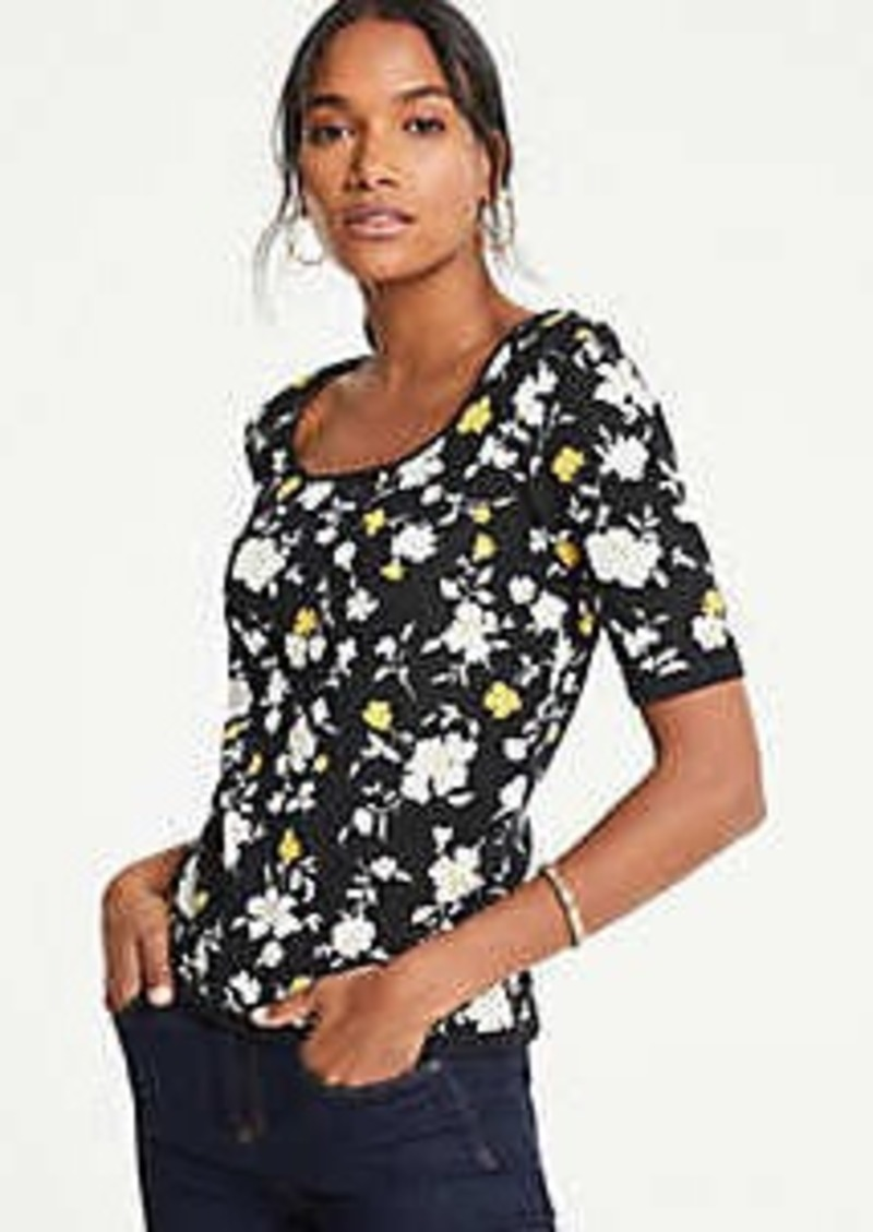Ann Taylor Floral Square Neck Elbow Sleeve Sweater