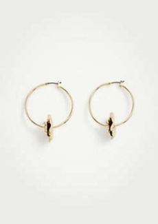 Ann Taylor Statement Flower Hoop Earrings