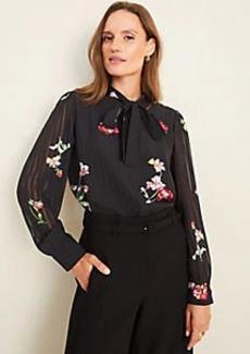 Ann Taylor Floral Striped Jacquard Tie Neck Blouse