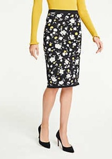 Ann Taylor Floral Sweater Pencil Skirt