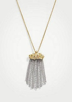 Ann Taylor Floral Tassel Pendant Necklace