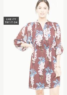 Ann Taylor Floral Tie Neck Shirtdress