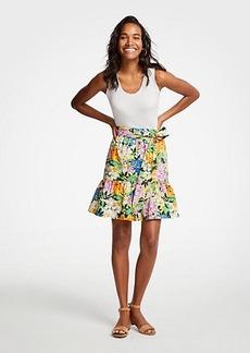 Ann Taylor Floral Tie Waist Flounce Skirt