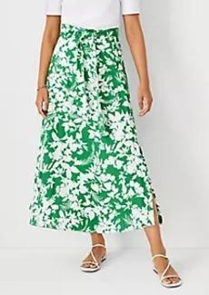 Ann Taylor Floral Tie Waist Maxi Skirt