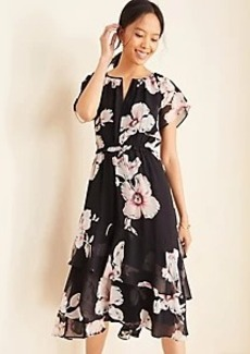 Ann Taylor Floral Tiered Flounce Dress