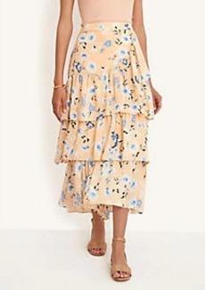 Ann Taylor Floral Tiered Flounce Maxi Skirt