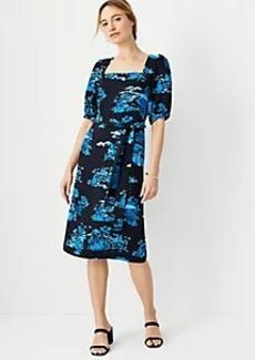 Ann Taylor Floral Toile Square Neck Shift Dress