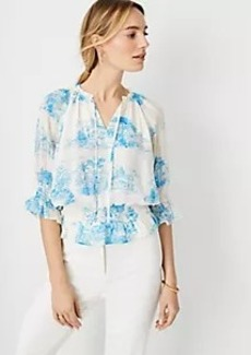 Ann Taylor Floral Toile Tie Neck Smocked Top