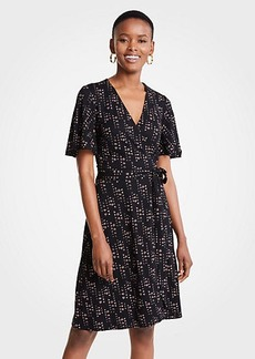 Ann Taylor Flowering Vine Flutter Sleeve Wrap Dress