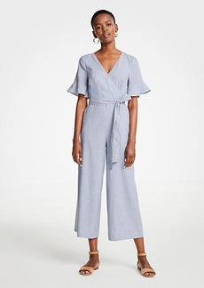Ann Taylor Fluted Sleeve Linen Blend Jumpsuit