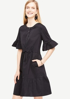 Ann Taylor Fluted Sleeve Poplin Shirt Dress