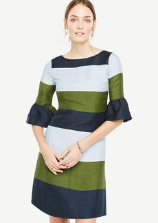Fluted Sleeve Striped Shift Dress