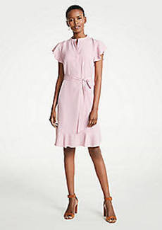 Ann Taylor Flutter Ruffle Belted Shirtdress