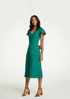 Ann Taylor Flutter Sleeve Linen Blend Midi Dress