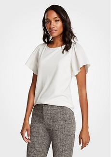 Ann Taylor Flutter Sleeve Mixed Media Tee