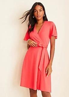 Ann Taylor Flutter Sleeve Wrap Dress