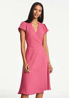 Ann Taylor Flutter Sleeve Wrap Flare Dress