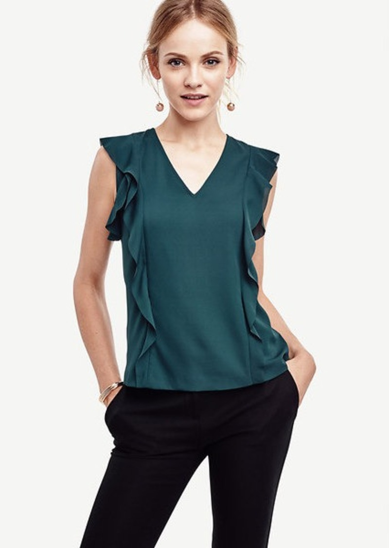 Ann Taylor Flutter V-Neck Top