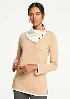 Ann Taylor Button Collar Tunic Sweater